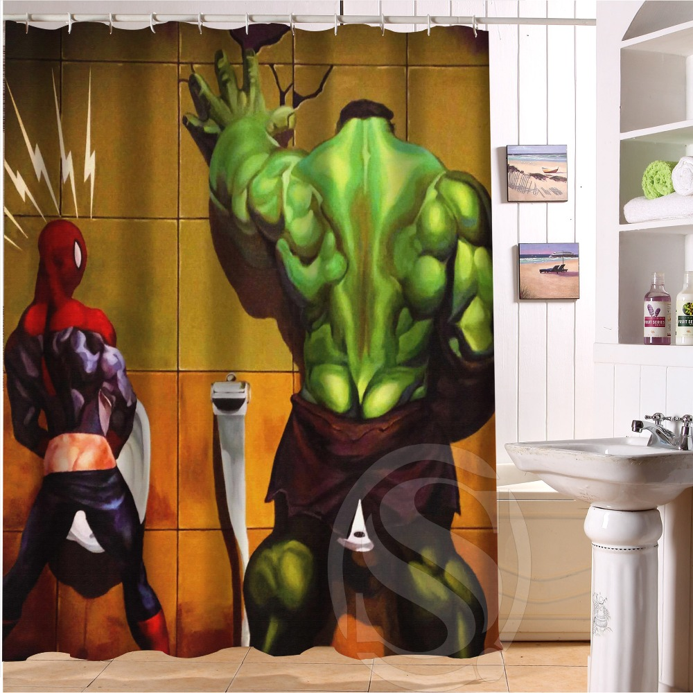 Bathroom Polyester Fabric Bath Curtain Printed Marvel, Deadpool, Hulk Cool  Pictures Shower Curtain In Shower Curtains From Home U0026 Garden On  Aliexpress.com ...