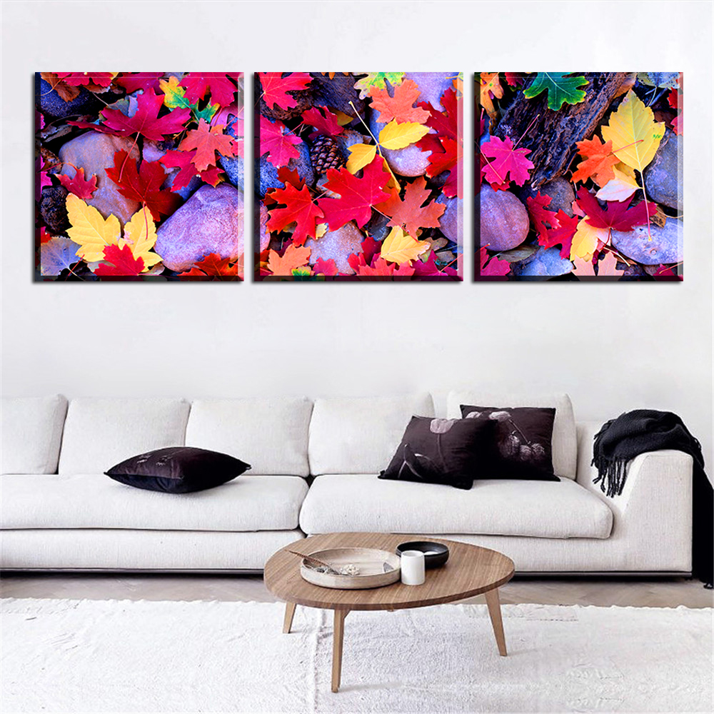 Modern Modular Frameless Oil Painting Canvas Print Poster Home Decoration Art Charm Picture Pattern of Colorful Leaves for Wall