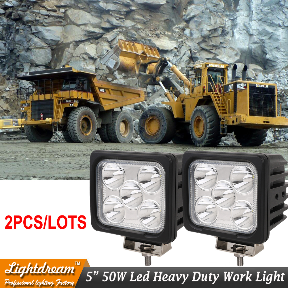 IP67 12V 24V 50W Led work lights 5inch Square Spot light Car LED Driving Lights For TRUCK SUV ATV 4WD BOAT MARINE x2pcs freeship 5inch new led driving light 40w led headlight low beam lamps for car truck suv atv marine new external light x2pcs free shipping
