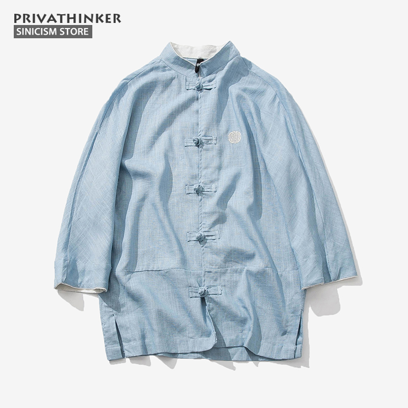 Sinicism Store Cotton Linen Embroidery Shirts Men Three Quarter Sleeve Shirts Chinese Traditional Clothes Button Male Shirt