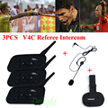 3Pcs Vnetphone V4C 1200M Waterproof Motorcycle Interphone Football Referee Headset Full Duplex Bluetooth Referee Intercom