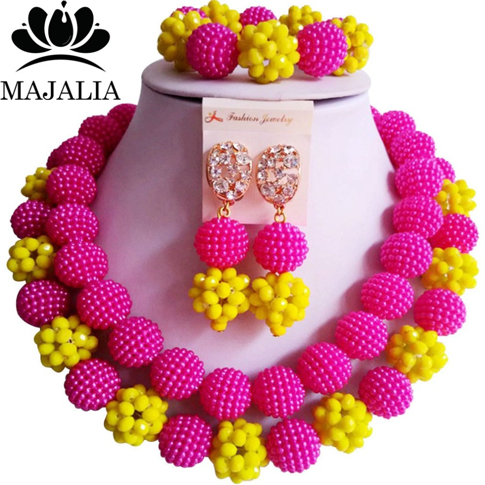 Fashion Nigeria Fuchsia Pink African Beads Jewelry Set Crystal Plastic  Pearl Necklace Bridal Jewelry Sets Free