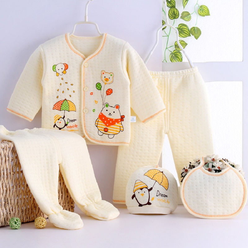 5pcs/Set Thick Newborn Baby Clothes Sets Baby Girls Boys Winter Infant Clothing Cotton Cartoon Underwear 0-3Month baby kit