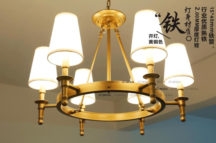 6 / 8 Head Brassy Color American Countryside Style Fabric Copper Pendant Light Art Bars Light Cafe Decoration Lamp Free Shipping
