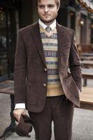2017 последние конструкции пальто Брюки Коричневые Вельветовые мужской костюм Slim Fit 2 шт. смокинг костюмы для выпускного куртка пользовательс