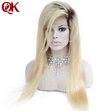QueenKing Hair Malaysian Ombre 1B 613 full lace wig Blonde Beyonce Remy Hair Free Shipping