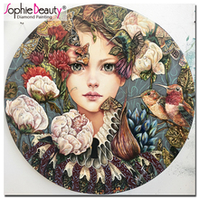 Sophie Beauty Full Handcraft Embroidery Rhinestones Cross Stitch Diy Diamond Painting Buttfly Girl and Flower Home Decro C258