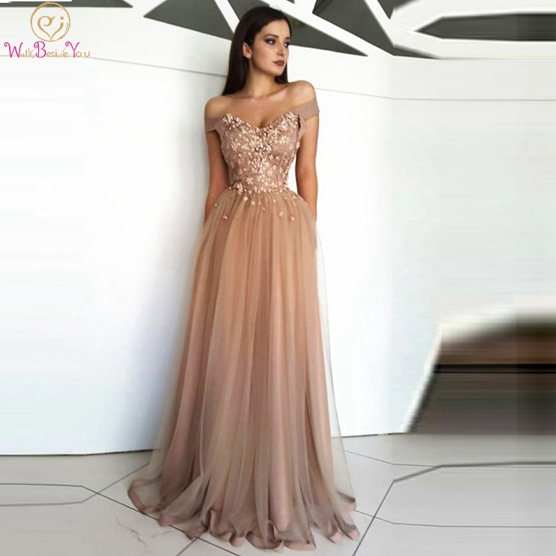 Champagne Evening Dress 2019 Appliques V-neck Off Shoulder Tulle Floor Length Zipper Back A-line Lace Beading Elegant Prom Gown