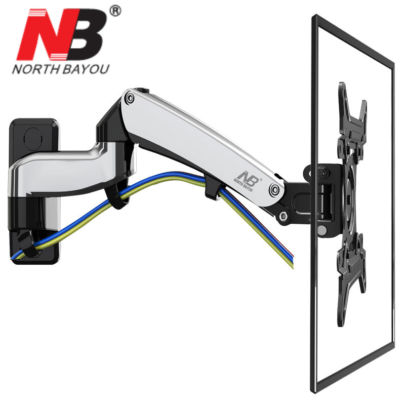 NB F300 Gas Spring 360 Degree 30 40 TV Wall Mount LCD Monitor Holder Aluminum Mirror Polish Arm