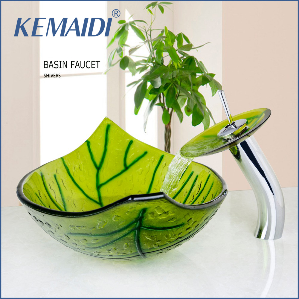 KEMAIDI Hand Painted Green Leaf Shape Bathroom Wash Basin Sink With Mixer Pop Up Drain Sink Set Bathroom Vessel Faucets&Tap
