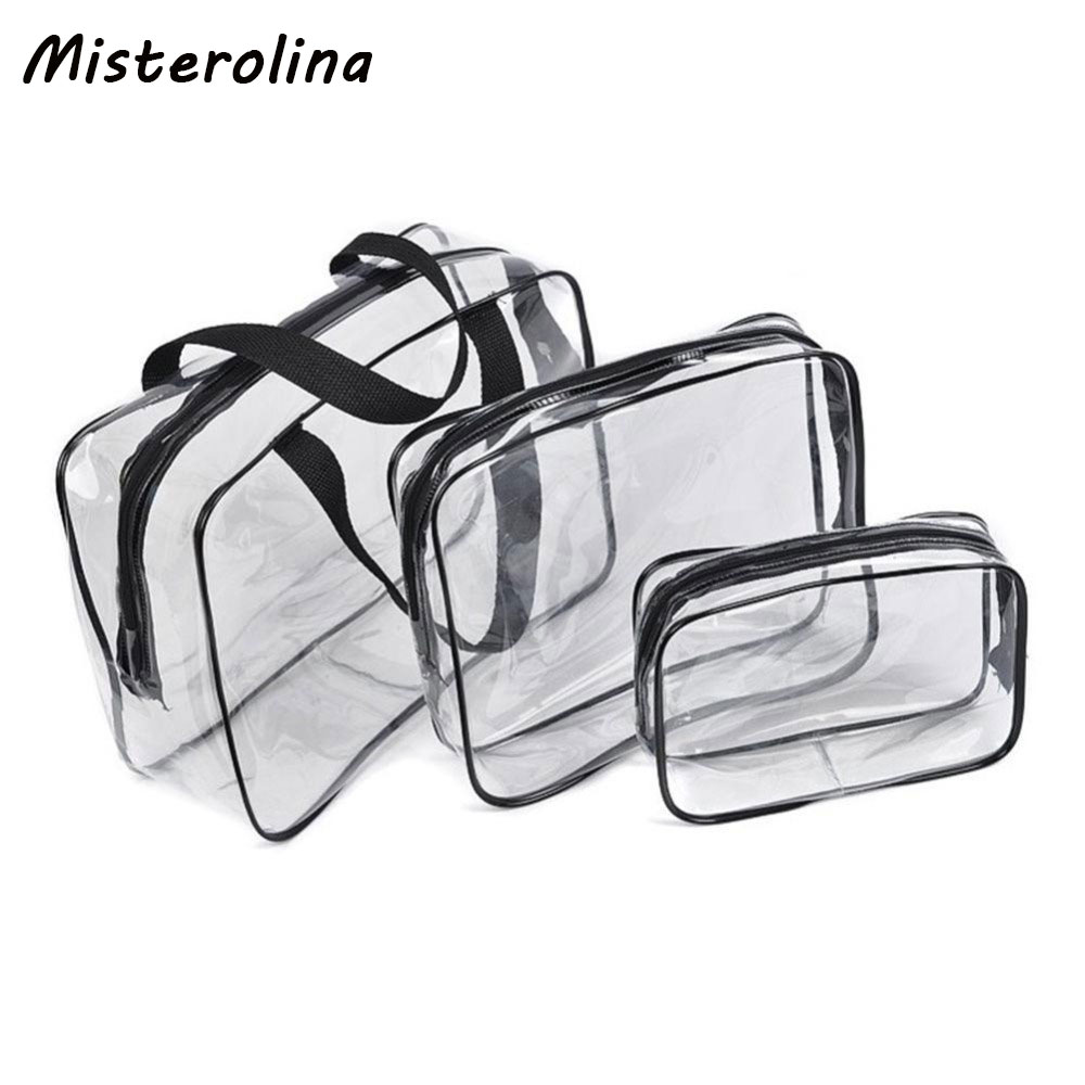 3 PCS Transparent PVC Bags Travel Organizer Clear Makeup Bag Beautician Cosmetic Bag Beauty Case Toiletry Bag Make Up Wash Bags