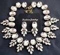 Роскошные ожерелья и подвески большой марка кристалл листья смолаы старинные колье коренастый биб себе ожерелье для женщин