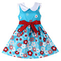 New Girls Dress Blue Floral Belt Lovely Sundress Party Birthday Baby Kid  Clothing Size 4-14