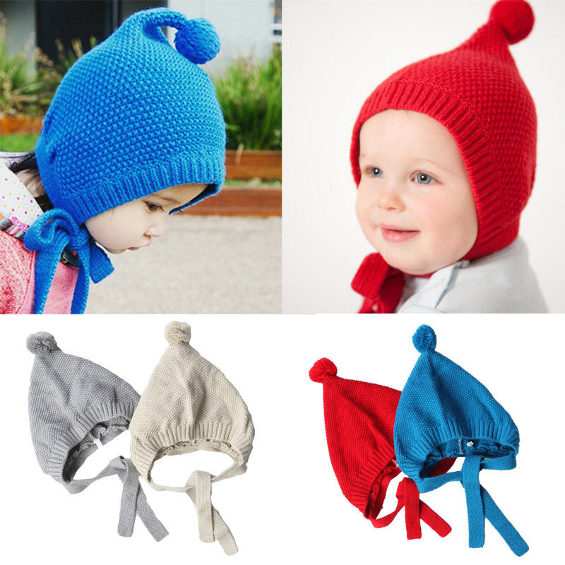 Emmababy 2017 Baby Hats Christmas Baby Boys Girls Kids Princess Knit Crochet Pom Pom Hat Cap Beanie Bonnet