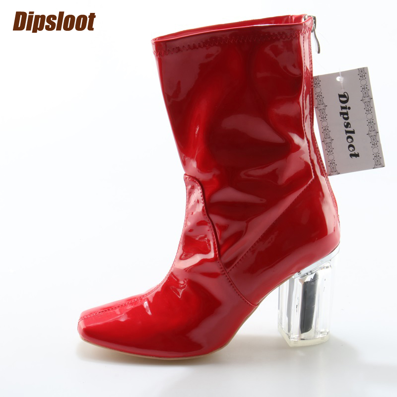 Red Patent Leather Women Fashion Square Toe Ankle Boots Sexy Crystal Heel Ladies Knight Boots Zipper Back High Heel Boots 2018 new suede leather patchwork women flodover mid calf boots sexy pointy toe ladies blade heel boots zipper knight boots