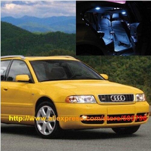 Free Shipping 17pcs/lot car-styling White Interior <font><b>LED</b></font> Lights For Audi S4 B5 Avant 1996-2001