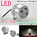 Metal Silver Electric Motor Bike Motorcycle 12W 4 LED Headlight Work Head Light Driving Fog Spot Night Safety Lamp Universal