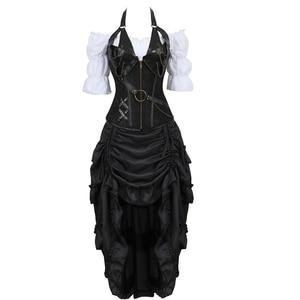 Image 1 - corset steampunk dress bustiers corset skirt three piece leather pirate lingerie corsetto irregular burlesque plus size black