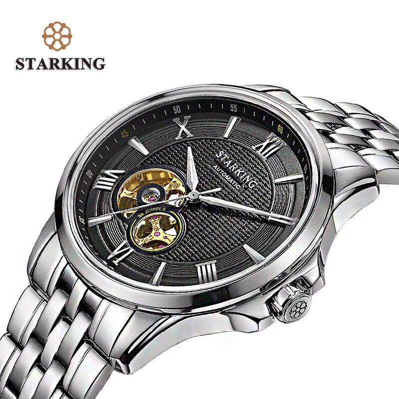 STARKING marque de luxe 2016 montres mécaniques automatiques hommes montre Tourbillon étanche calendrier en cuir montre-bracelet en or AM0183