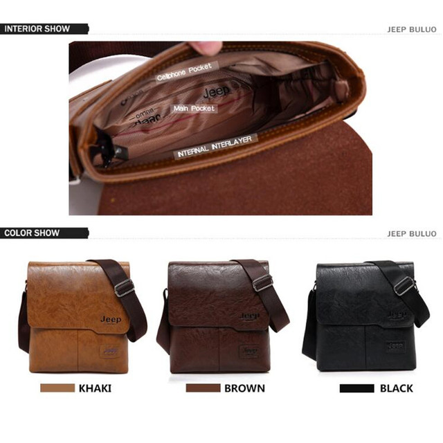 Men Tote Bags Set JEEP BULUO Famous Brand New Fashion Man Leather Messenger Bag Male Cross Body Shoulder Business Bags For Men 2