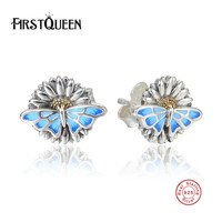 FirstQueen Popular 925 Sterling Silver Enamel Butterfly Classic Push Back Stud Earring Women Jewelry Brinco