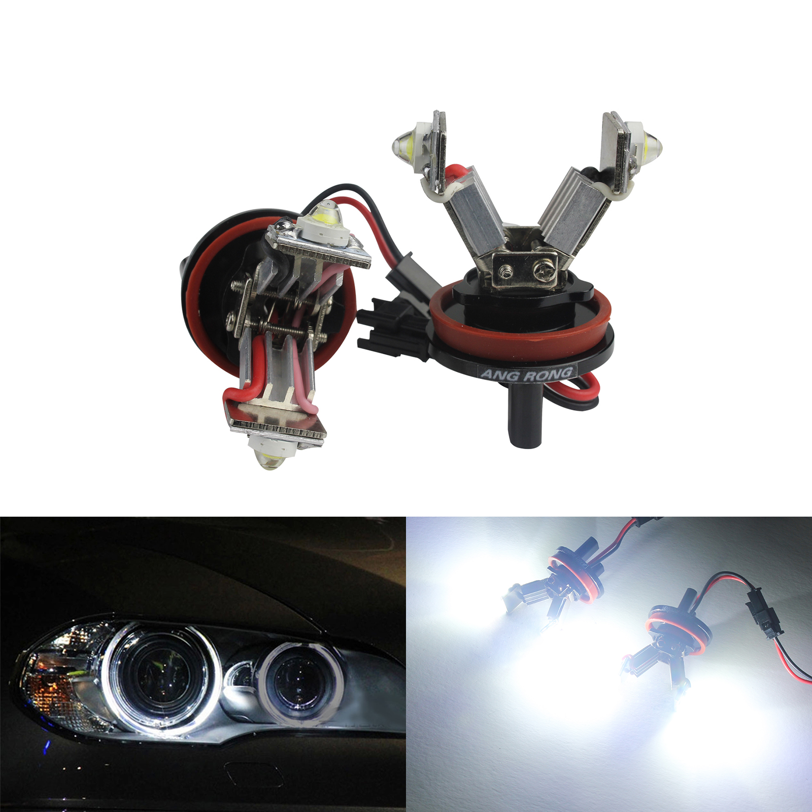 ANGRONG 2x LED Canbus H8 6W Angel Eyes Marker Halo Headlight Bulbs For BMW 3 Series E92 M3 2008 2012 E82 E60 E61 E63 X5 X6 Z4