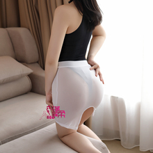 Пикантная Высокая облегающая юбка-карандаш Милая юбка из материала Ice Silk прозрачная мини-юбка Прозрачная Юбка для ночного клуба Фантастическая эротическая одежда F14