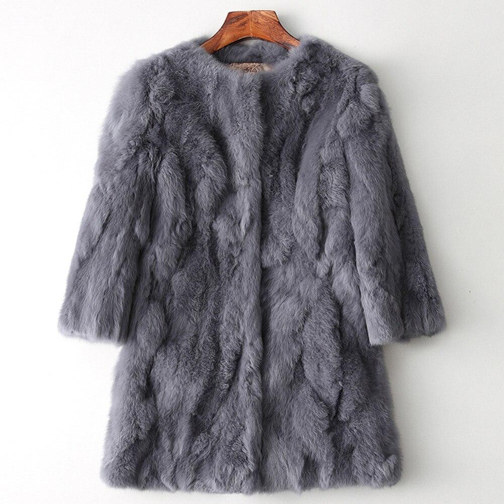 Women's Genuine Real Natural Rabbit Fur Coat Women Fashion Mid-Long Jacket Lady Winter Warm Overcoats Vest Size 88-100 Bust