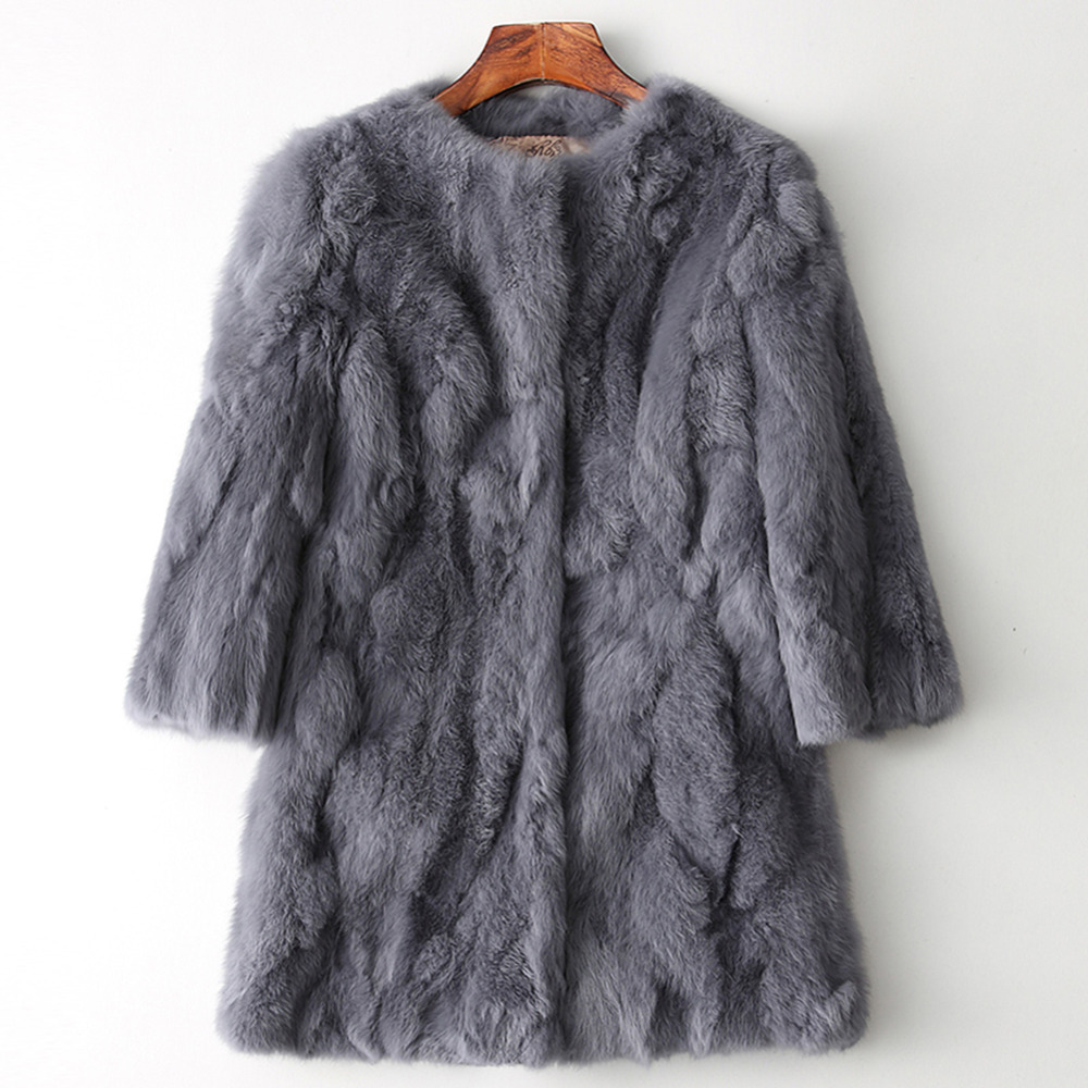 Women's Genuine Real Natural Rabbit Fur Coat Women fashion Mid-Long jacket Lady Winter Warm Overcoats vest size 88-100 Bust