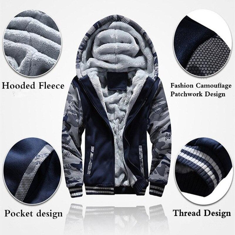 EUA TAMANHO Super Quente Inverno Engrosse Velo Hoodies Moletons Casacos Com Capuz Zipper Casacos Roupas de Camuflagem dos homens Novos