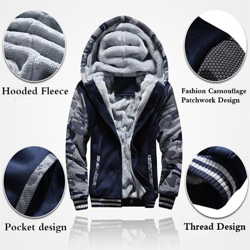 Ee.uu. tamaño Super caliente Hoodies sudaderas invierno espesar Fleece camuflaje chaquetas de cremallera con capucha abrigos ropa nueva