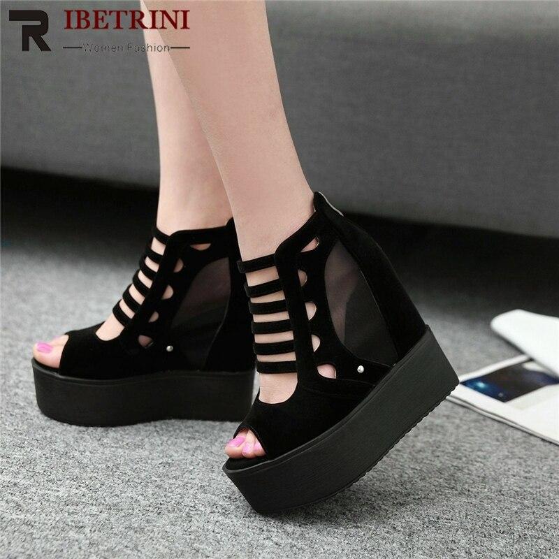 dcd3c02f Ribetrini Negro Decoración Para Aumento Plus Tamaño Zapatos De Tacones 43  2019 Mujer rojo Sexy Sandalias Plataforma Encaje 32 raRFrq