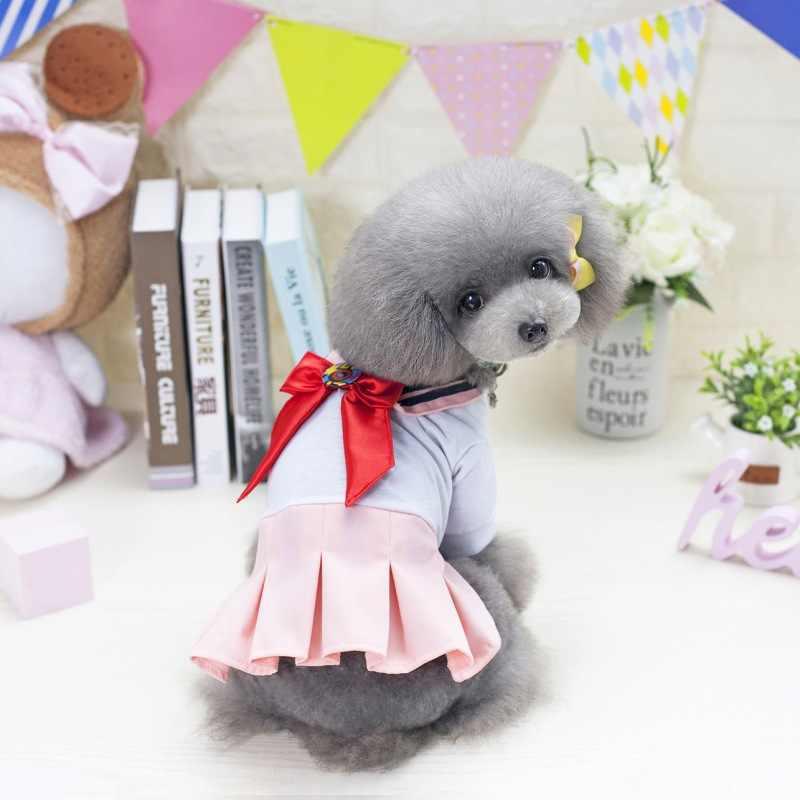 犬かわいい高校生均一な蝶ネクタイ犬の夏の服チワワヨーキー犬シャツパーティースカート服 tシャツ