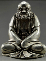 wedding decoration Collectible Decorated Old Handwork Tibet Silver Big Bodhidharma Buddha Statue