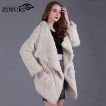ZDFURS * Genuino de punto Rabbit Fur Coat Moda Mujeres knit de Piel de Conejo Chaqueta de Invierno Caliente larga de Piel de Conejo Outwear ZDKR-165012