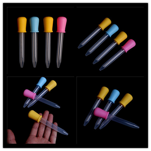 2pcs Small Silicone Plastic Feeding Medicine Liquid Ear Eye Graduated Pipette Dropper 5ml For School Lab Supplies Color Random
