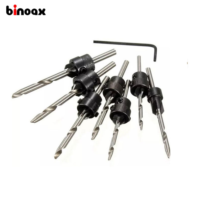 Binoax 22pc Tapered Drill Bits Countersink Set Stop Collars Hex Key Wood Pilot Hole DIY Adjustable Depth