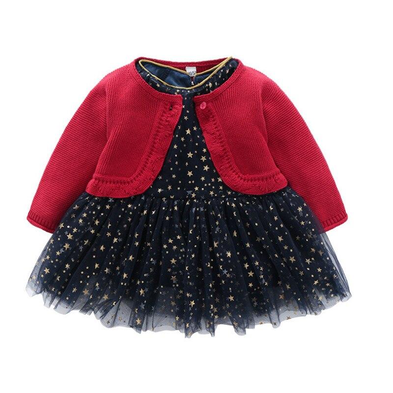 Printemps et automne bébé filles princesse étoile Tutu robe enfant en bas âge fille Cardigan manteau vêtements anniversaire noël tenues ensemble de vêtements