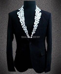 Куртка брюки новый мужской большой размера плюс блестки Стразы черный белый костюм верхняя одежда Блейзер костюм Ds одежда для сцены