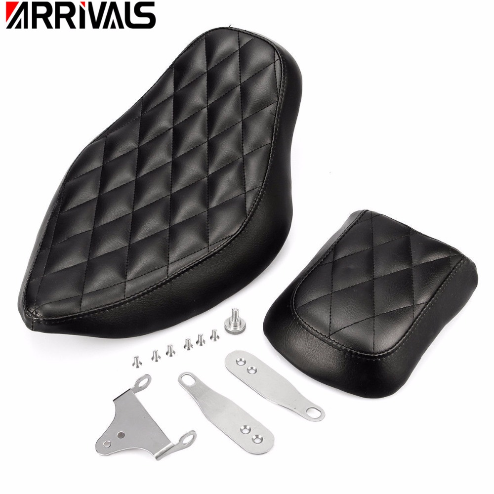 Motorcycle Black Artificial Leather Rough Crafts Diamond Driver Seat+ Rear Passenger Seat For Harley Sportster XL 2010-2016Motorcycle Black Artificial Leather Rough Crafts Diamond Driver Seat+ Rear Passenger Seat For Harley Sportster XL 2010-2016
