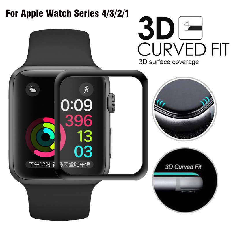 JANSIN 3D Full Cover Tempered Glass For Apple Watch 40mm 44mm Series 4 Screen Protector For Apple Watch 38mm 42mm Series 1/2/3 42mm 38mm for apple watch s3 series 3