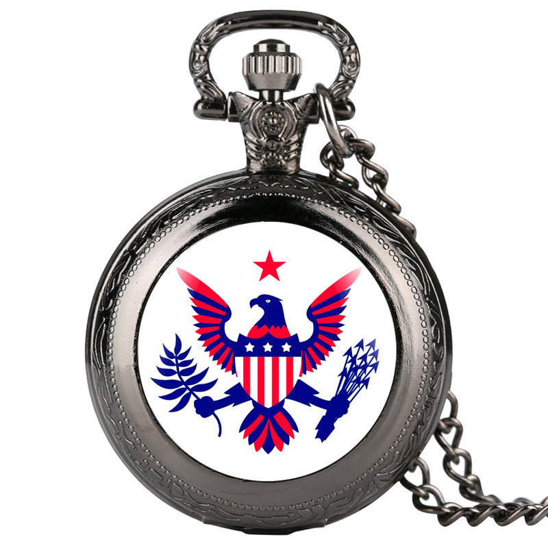 Creative Eagle Pattern Quartz Pocket Watch Retro For Women Men Large White Dial Durable Alloy Link Chain Gift For Pocket Watch