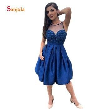 Knee Length Blue Satin Junior Graduation Dresses Illusion O-Neck Blue Appliques Girls Homecoming Dresses with Pockets D1013