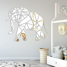 Creative acrylic INS Geometric elephant DIY childrens room bedroom home TV background wall 3D mirror decal sticker