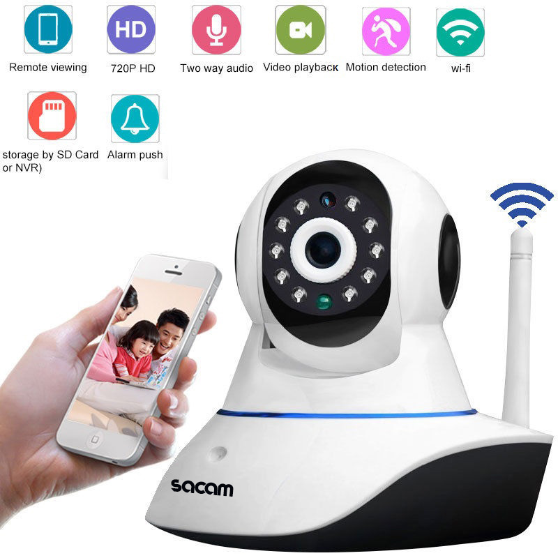 Sacam Home Security Surveillance Day/Night WiFi IP Camera HD 720p Wireless Webcam CCTV Cameras Two Way Audio Wide Angle
