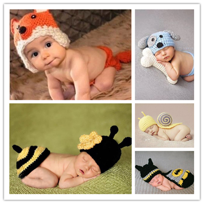 2017 new Animal Design Newborn Baby Crochet Photography Props Handmade Knit Costume Outfit Sleepy Owl Frog bee Baby Gift newborn baby photography props infant knit crochet costume peacock photo prop costume headband hat clothes set baby shower gift