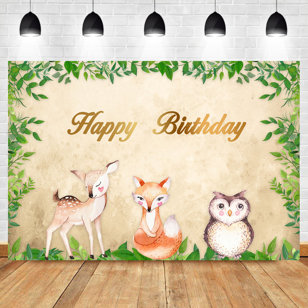 NeoBack Woodland Happy Birthday Party Banner Backdrops Animals Baby Shower Photography Background