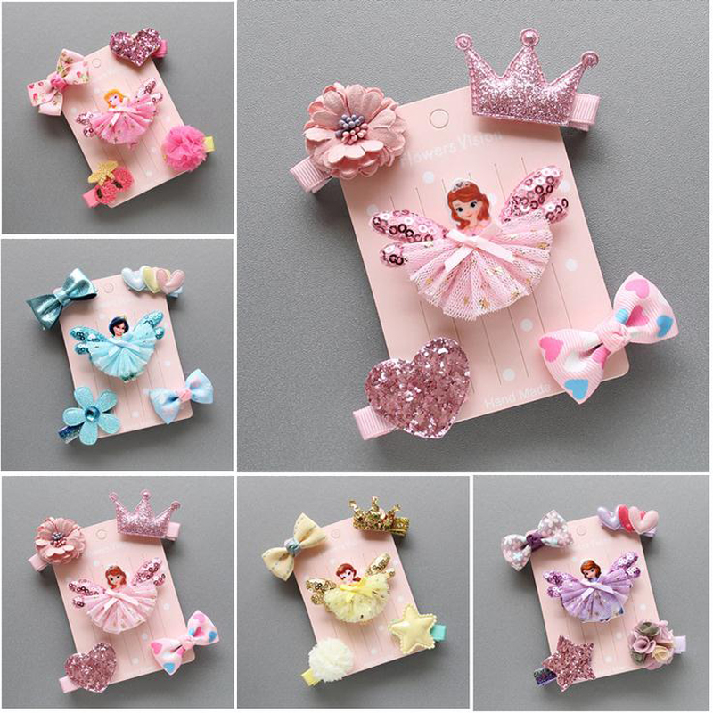 LOEEL 5Pcs/Lot New Children Headwear Set Cartoon Frozen Princess Barrette Cotton Crown Flower Bowknot Hairpin Girls Headdress