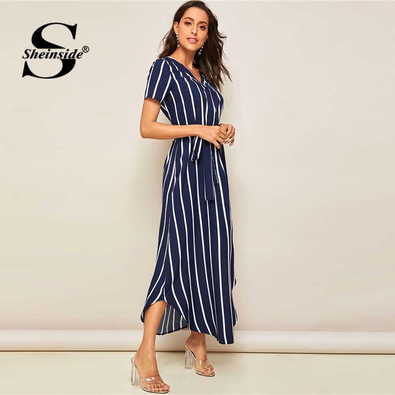 Sheinside повседневное вертикальное Полосатое платье с v-образным вырезом женское 2019 летнее платье с коротким рукавом прямые платья женское темно-синее платье с изогнутым подолом
