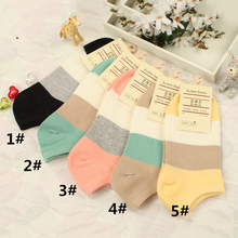 Фотография New brand autumn casual women short socks thin cotton patchwork candy color comfortable warm cute girl invisible sock W-01